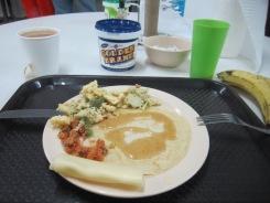 Pancakes, scrambled eggs. Nice.