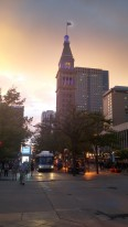 Denver downtown at sunset