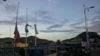 Flags at half mast following the Paris terrorist attacks. Half the island is French.