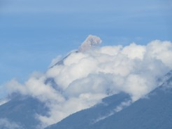 A volcano blowing a puff of smoke. I'm sure there was a tremor one morning.